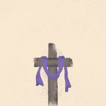 Illustration of a purple shroud on a cross.