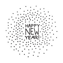 Hand drawn Happy New Year lettering.