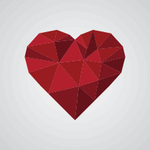 geometric red heart illustration.