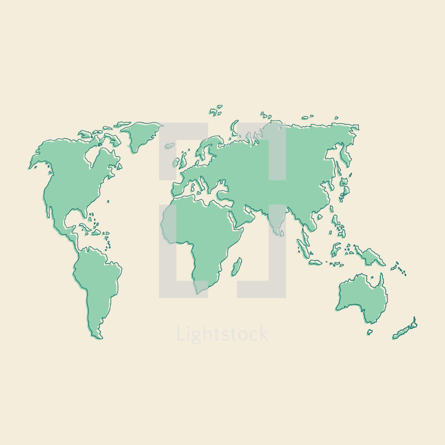 Hand drawn world map illustration. — Vector by Prixel Creative ...