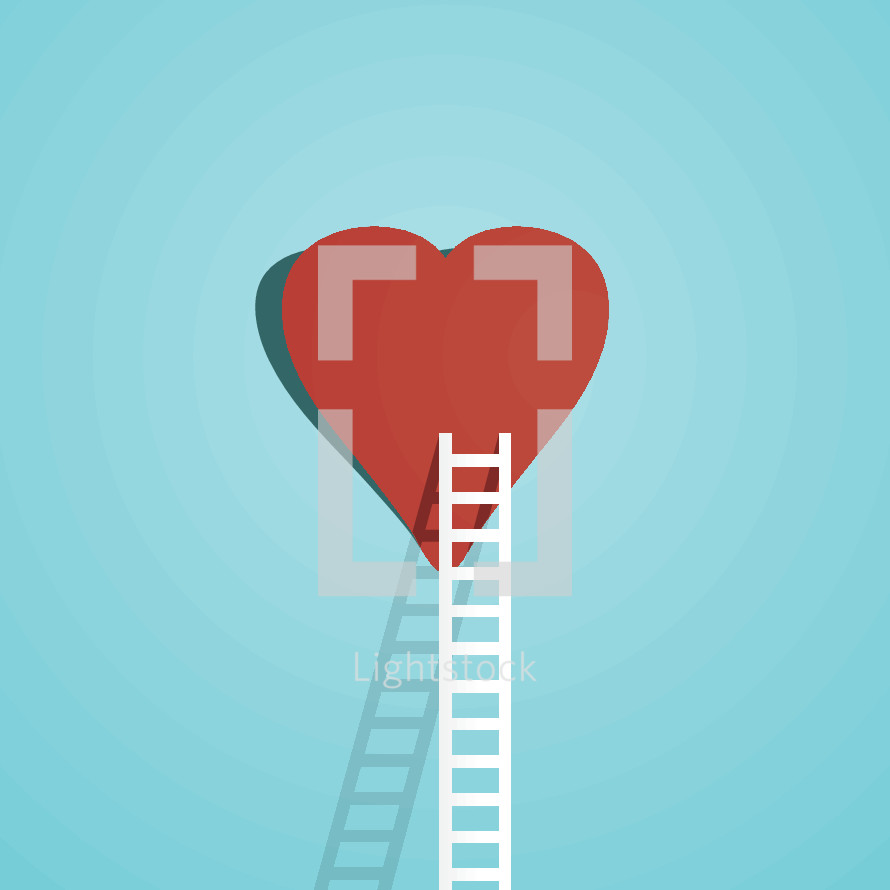 Illustration of a ladder leading to a heart.