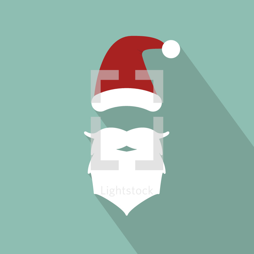 santa hat and beard illustration.
