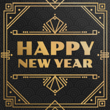 gold deco happy new year graphic lettering