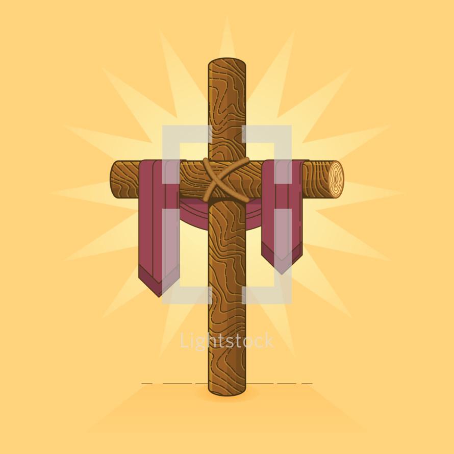 wooden cross with purple shroud