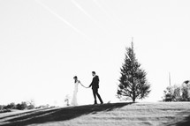 bride and groom holding hands at the top of a hill