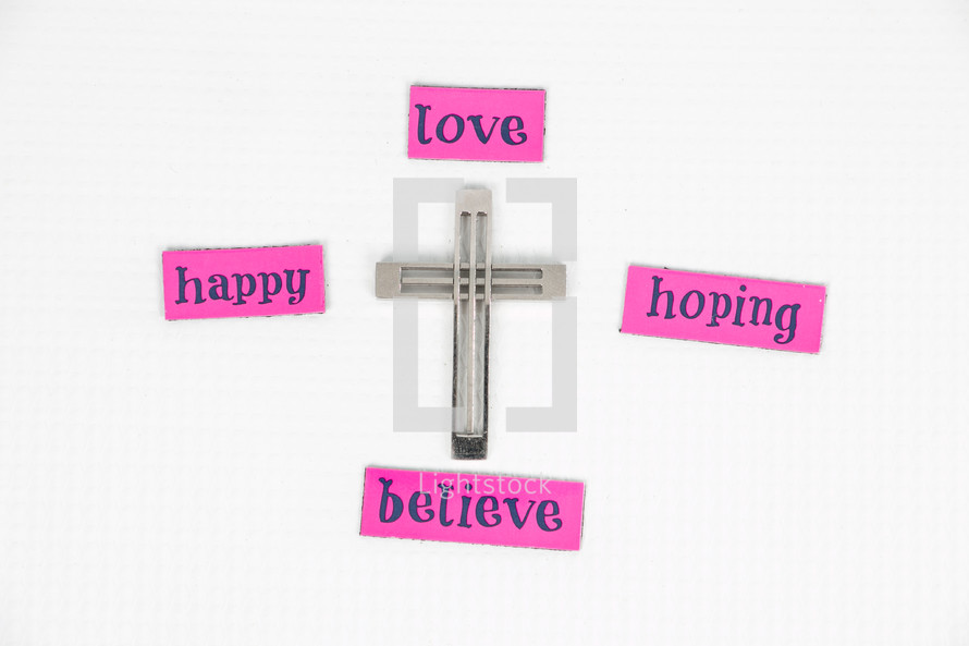 cross, love, believe, words, lettering, sign, hoping, happy, Easter, pink