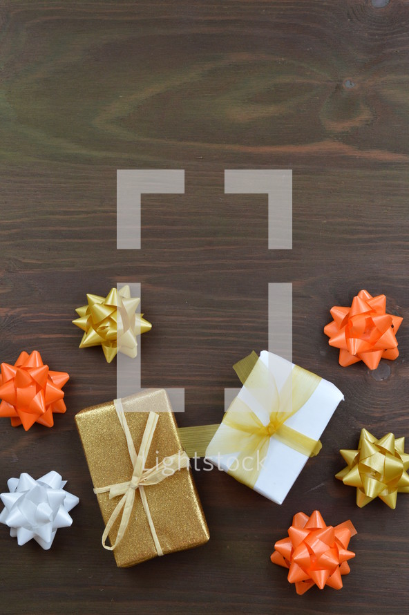 wrapped gifts in autumn colors