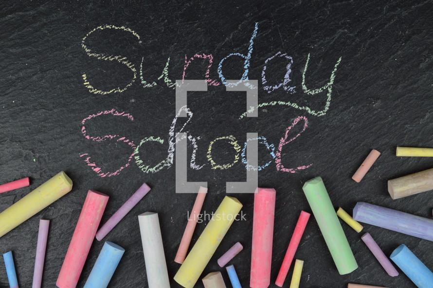 chalk on slate and Sunday School