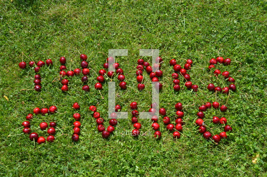 Thanks giving written with cherries in the grass