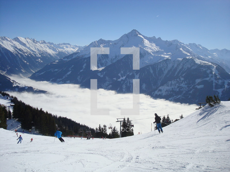 skiing on the slopes