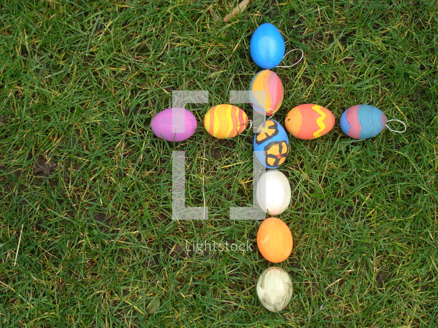 Cross out of colored eggs,  eggs, Easter, cross, egg, colored, color, multicolored, painted, paint, handicraft, grass, handiwork, manual, hand-made, self-made, eggshell, shell, resurrection, dead, death, crucifix, crucifixion, Good Friday, Easter Day, Easter Sunday, victory, defeated, beaten, conqueror, victor, conquer, overcome, defeat