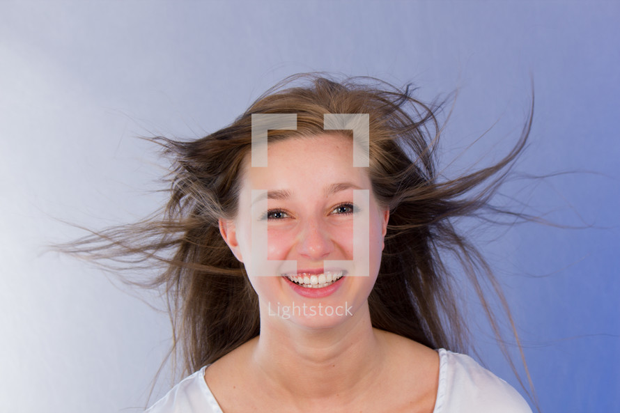 woman's hair blowing