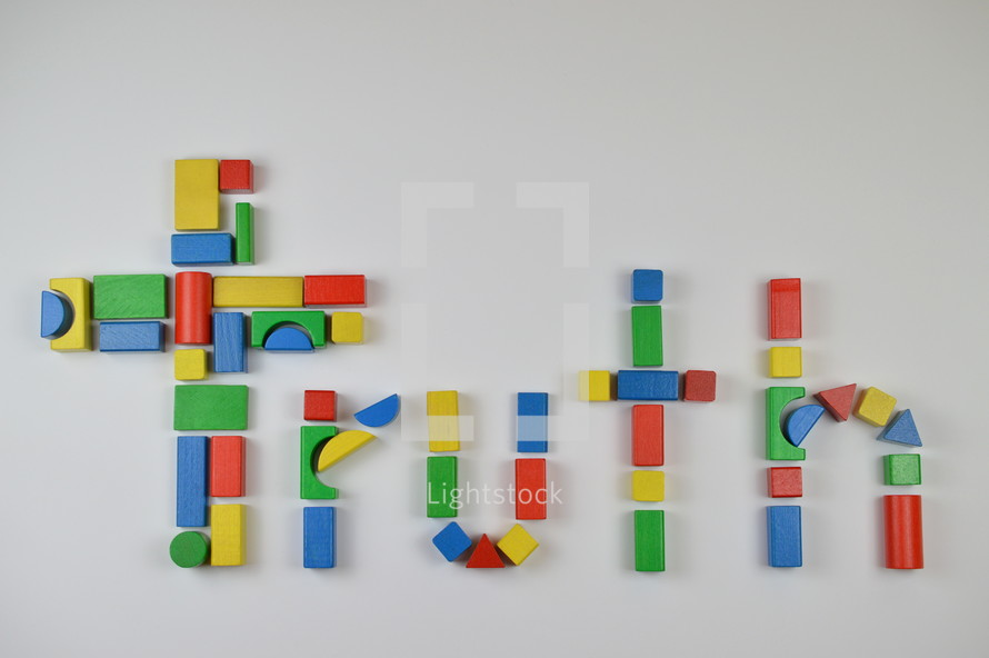 cross and word truth of colorful toy wooden blocks