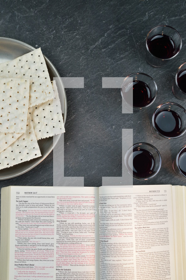 communion bread and wine and open Bible