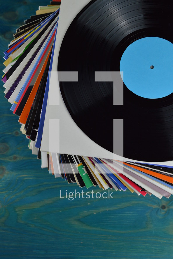stack of vintage records