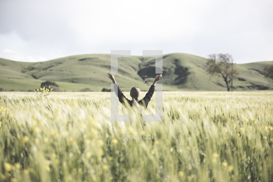 a woman with raised arms standing in a field of wheat