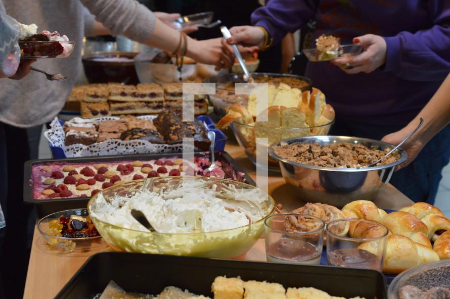 getting dessert off the buffet line