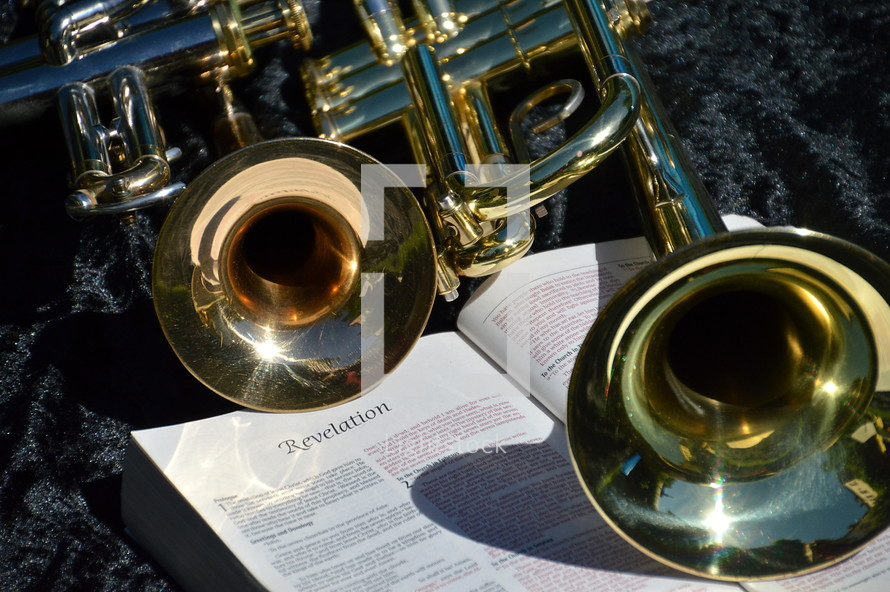trumpets on a bible open to the book of photo lightstock. Black Bedroom Furniture Sets. Home Design Ideas