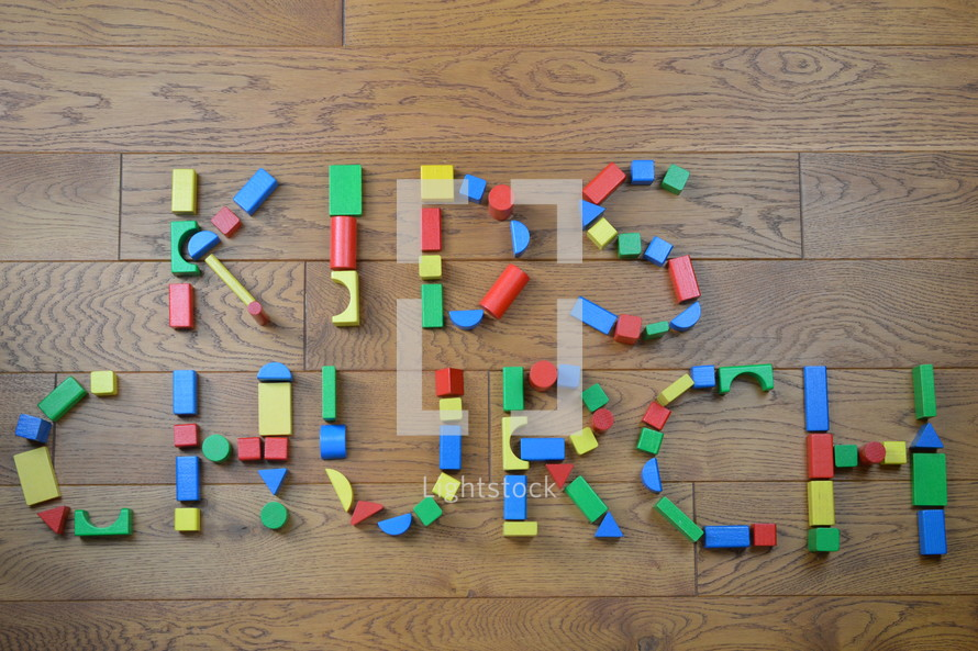 kids church out of colorful wooden toy blocks