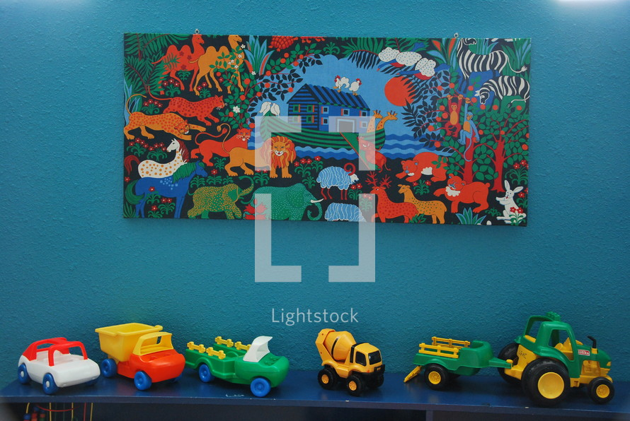 Noah Ark painting and toys