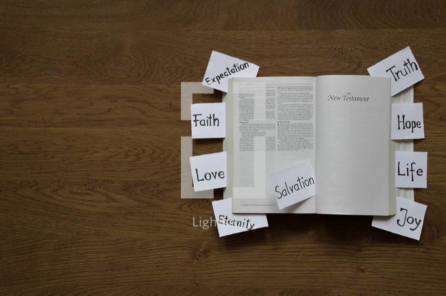 words on notecards on a Bible