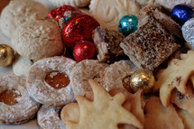 Christmas cookies and Christmas ornaments