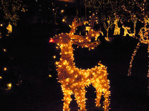 Christmas Reindeer lights at night decorating downtown Richmond, Virginia for the Christmas holidays.
