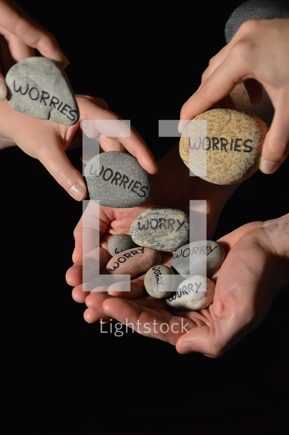 People are giving their worries in the symbol of stones into the hands of Jesus. worry, worries, anxiety, anxieties, stone, stones, hands, hand, care, caring, give, giving, deliver, delivering, concern, concerns, trouble, troubles, sorrow, sorrows, pain, fear, concernment, problem, problems, free, freeing, release, releasing, rescue, rescuing, bother, symbol, figure, burden, load, oppressiveness, oppressive, stress, affliction, letter, letters, write, written, writing, pebbles, pebble
