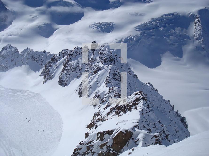 Wintry mountain scene,.