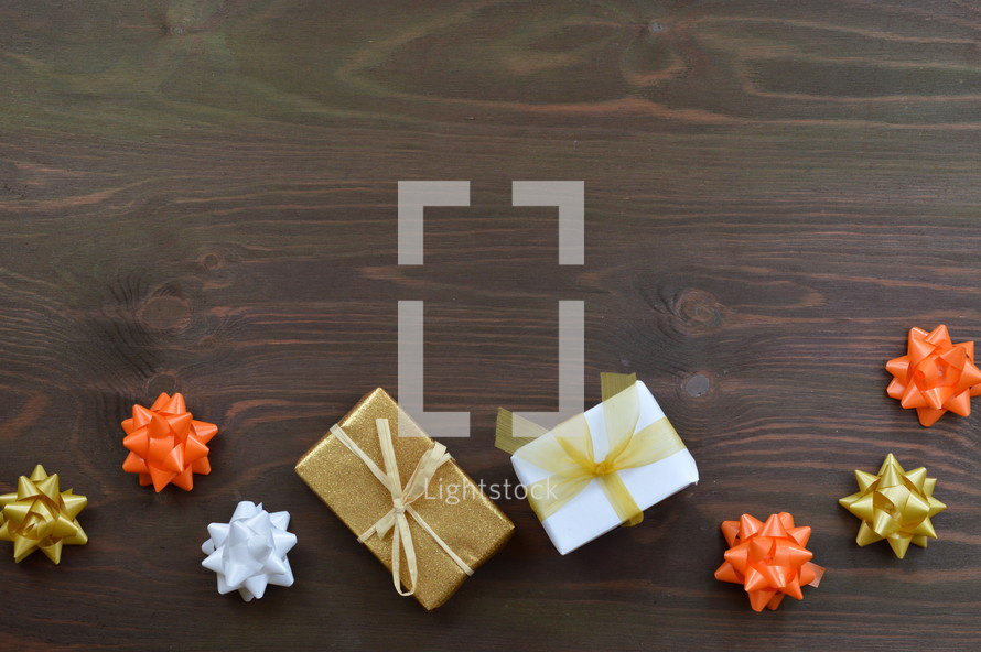 gifts wrapped in fall colors