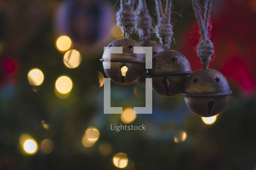 bell Christmas ornaments on a Christmas tree