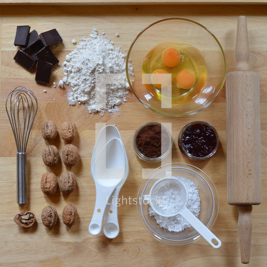 Flat lay with baking ingredients as a square