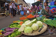 Street market selling vegetables