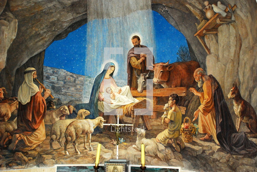 Fresco painting of the Nativity, from the chapel of the Shepherds' Field in Beit Sahour (a suburb of Bethlehem), the traditional site of the angelic annunciation to the shepherds.