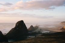 rock formations along a shore