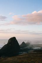 rock formations alongs a coastline