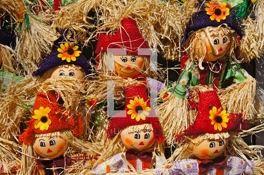 Scarecrow dolls. Straw, autumn, red, child, toy, hat, flower, fall
