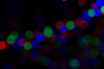 colorful bokeh Christmas lights at night