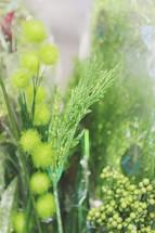 green shiny crafting supplies