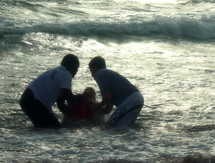 Baptism in the ocean.