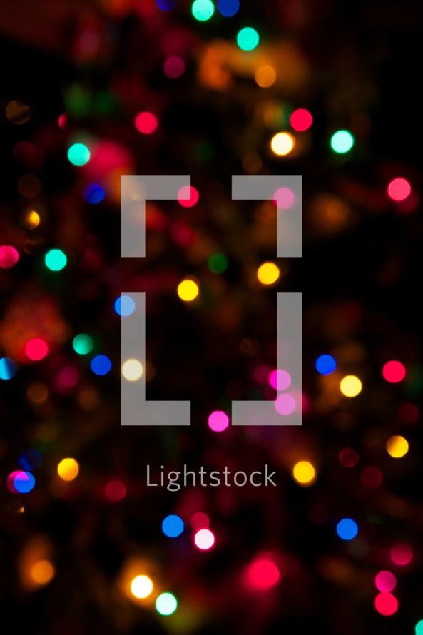 Colorful Christmas lights at night.