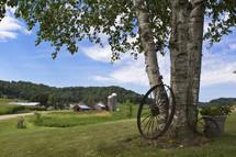 wagon wheel and a farm