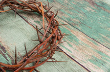 crown of thorns on a green wood background