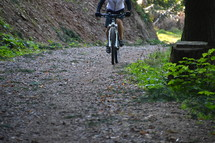 man riding a bicycle. 