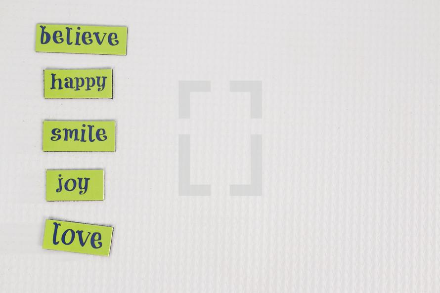believe, love, joy, smile, happy, words, sign, lettering
