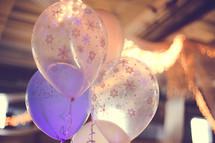 Helium Balloons with white snowflakes