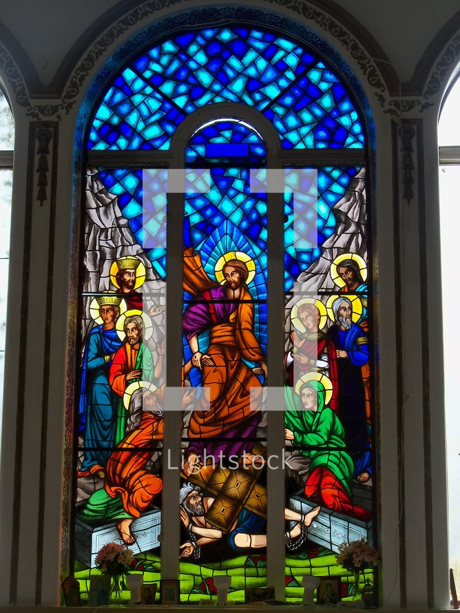 Jesus and the apostles stained glass window relief