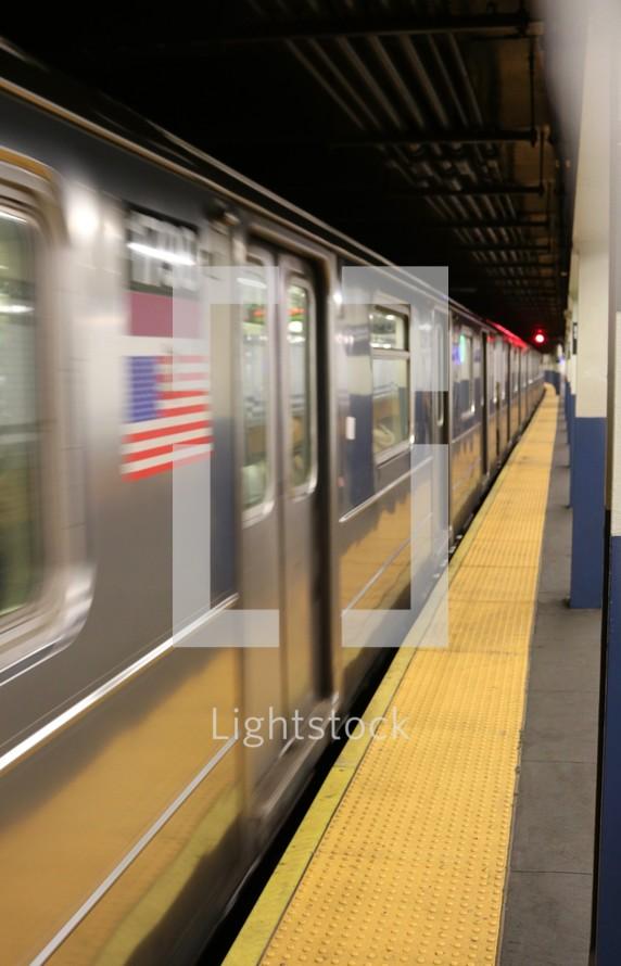 passing subway train