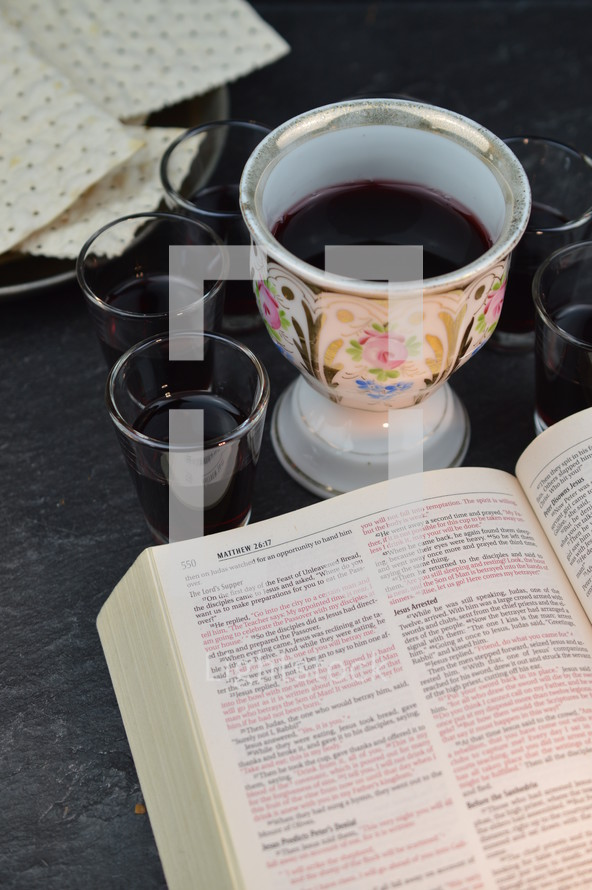 chalice of communion wine and open Bible