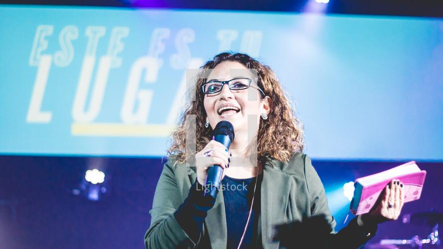 worship leader on stage